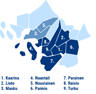 TSV toimittaa vettä Kaarinaan, Lietoon, Maskuun, Naantaliin, Nousiaisiin, Paimioon, Paraisille, Raisioon ja Turkuun.