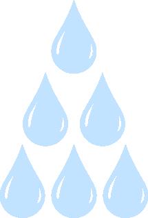 Kuusi vesipisaraa kolmion muotoisessa muodostelmassa.